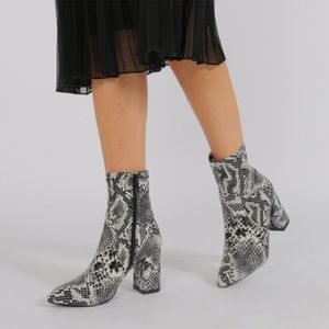 4aa5fd7277b Public Desire Shoes - Raya Pointed Toe Ankle Boots in Black Snake Print